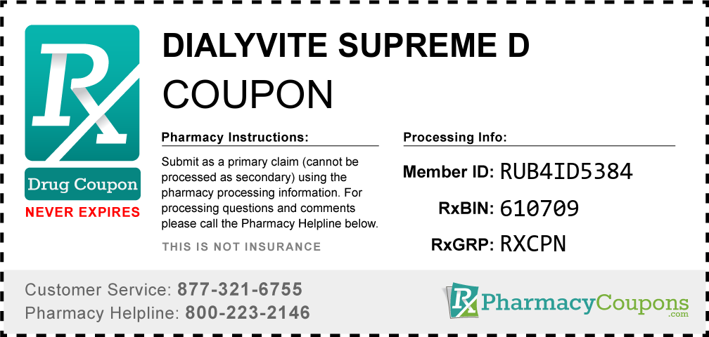 Dialyvite supreme d Prescription Drug Coupon with Pharmacy Savings