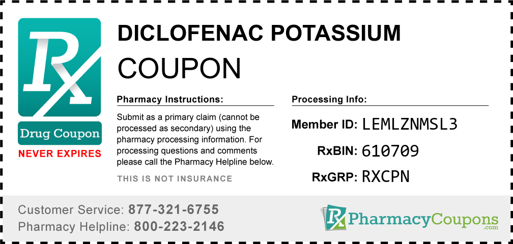 Diclofenac potassium Prescription Drug Coupon with Pharmacy Savings