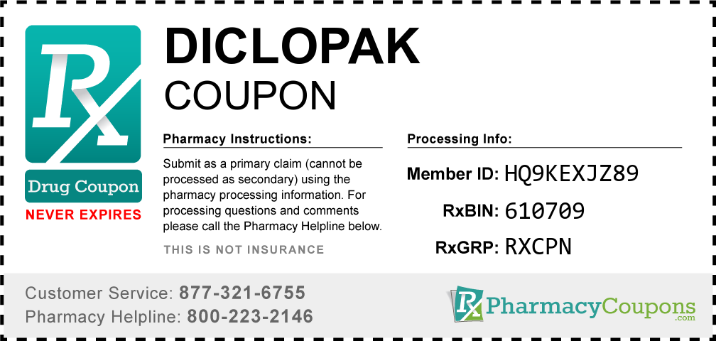 Diclopak Prescription Drug Coupon with Pharmacy Savings
