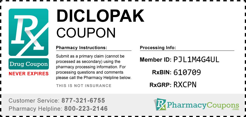 Diclopak Prescription Drug Coupon with Pharmacy Savings