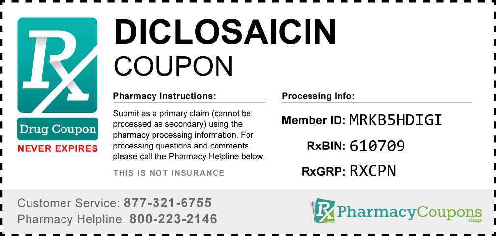 Diclosaicin Prescription Drug Coupon with Pharmacy Savings