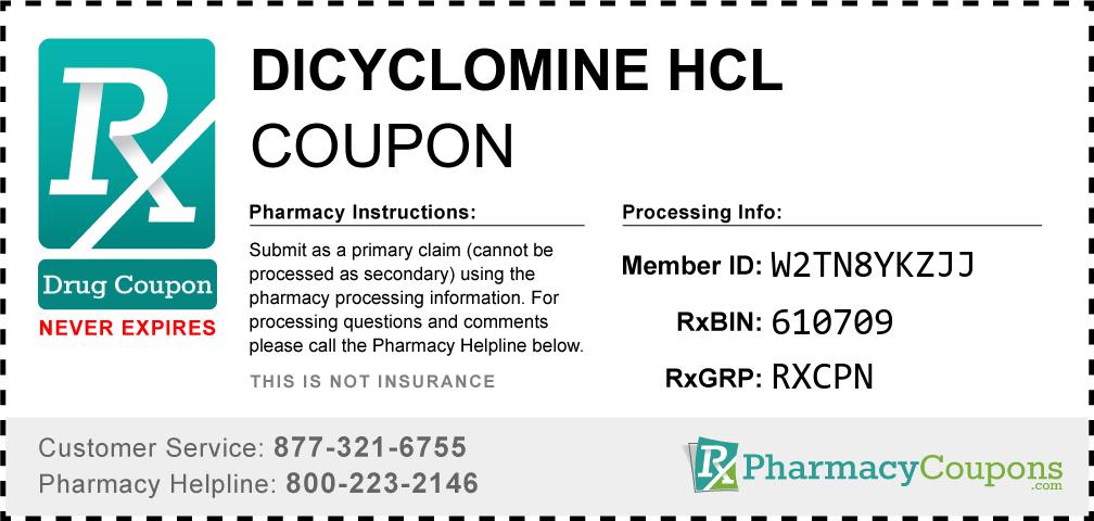 Dicyclomine hcl Prescription Drug Coupon with Pharmacy Savings