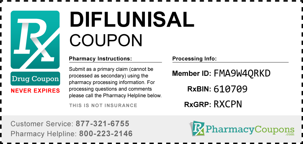Diflunisal Prescription Drug Coupon with Pharmacy Savings