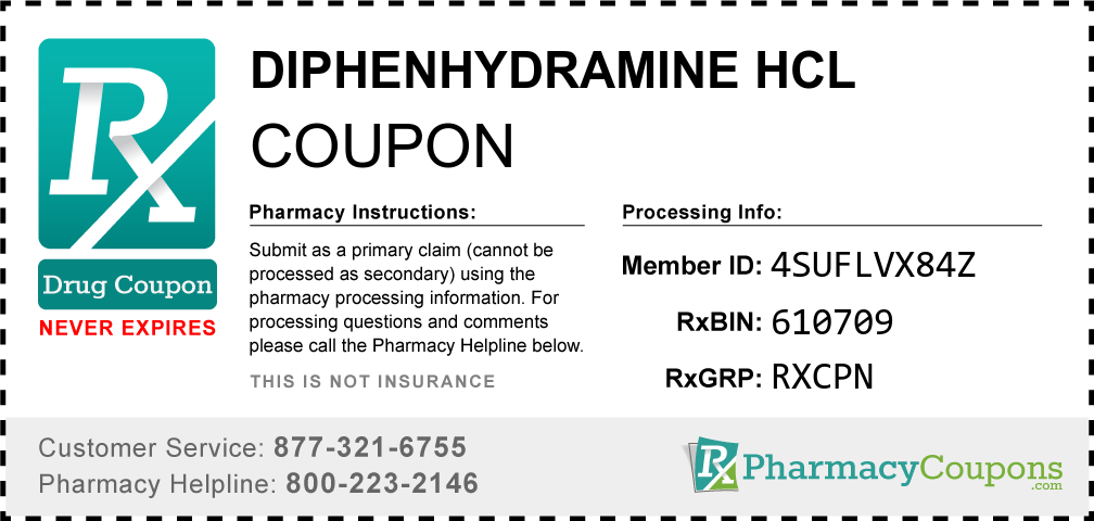 Diphenhydramine hcl Prescription Drug Coupon with Pharmacy Savings