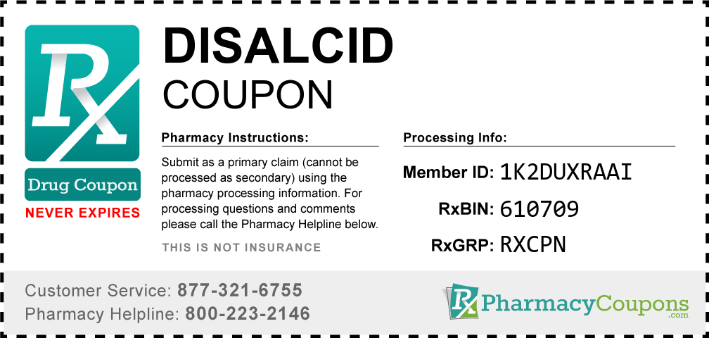 Disalcid Prescription Drug Coupon with Pharmacy Savings