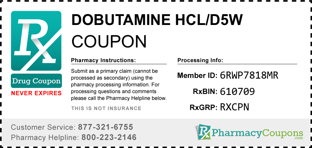 Dobutamine hcl/d5w Prescription Drug Coupon with Pharmacy Savings