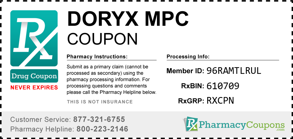 Doryx mpc Prescription Drug Coupon with Pharmacy Savings