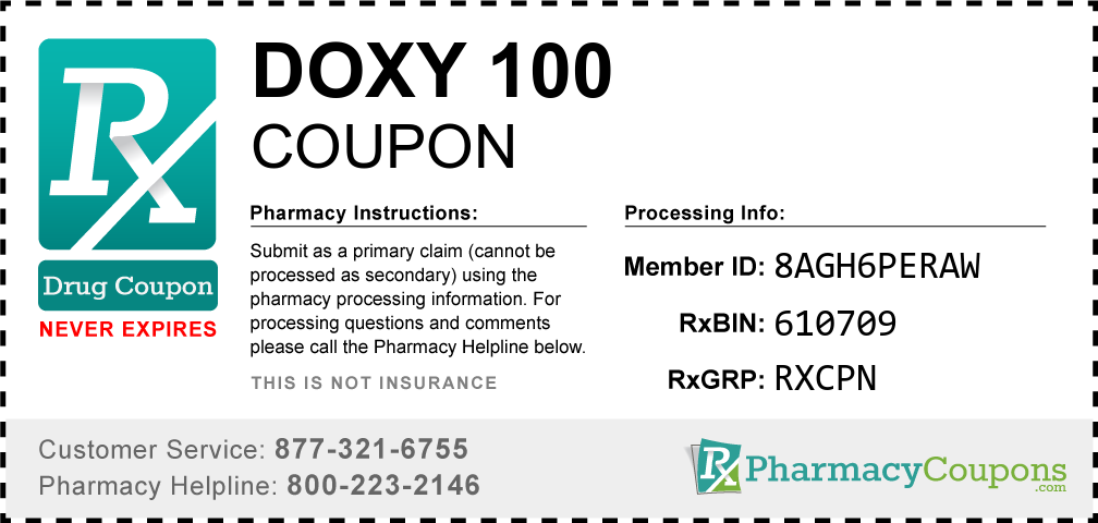 Doxy 100 Prescription Drug Coupon with Pharmacy Savings
