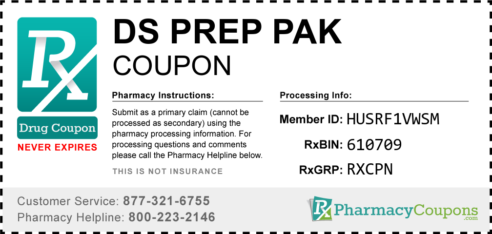 Ds prep pak Prescription Drug Coupon with Pharmacy Savings