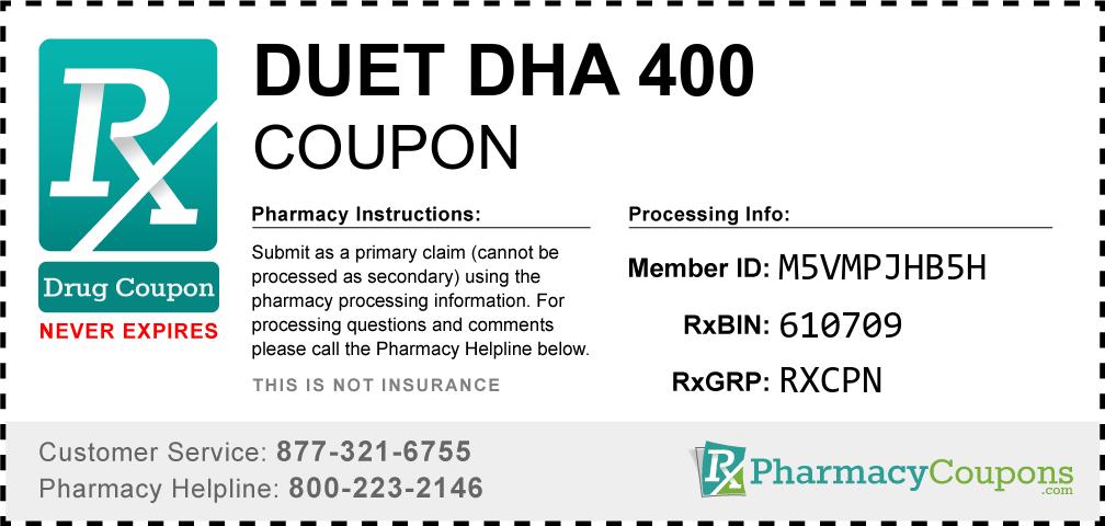 Duet dha 400 Prescription Drug Coupon with Pharmacy Savings