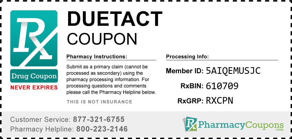 Duetact Prescription Drug Coupon with Pharmacy Savings