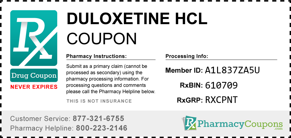 Duloxetine hcl Prescription Drug Coupon with Pharmacy Savings