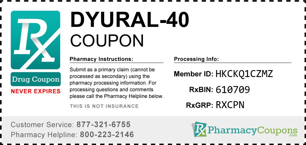 Dyural-40 Prescription Drug Coupon with Pharmacy Savings