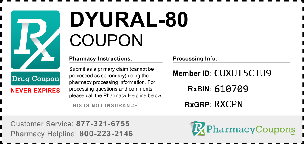 Dyural-80 Prescription Drug Coupon with Pharmacy Savings