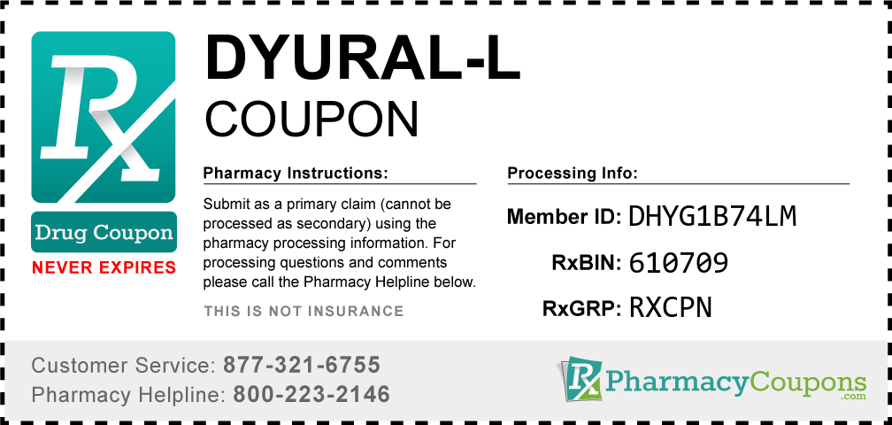 Dyural-l Prescription Drug Coupon with Pharmacy Savings