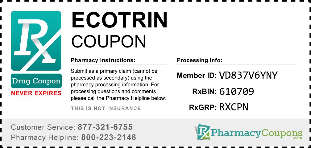 Ecotrin Prescription Drug Coupon with Pharmacy Savings