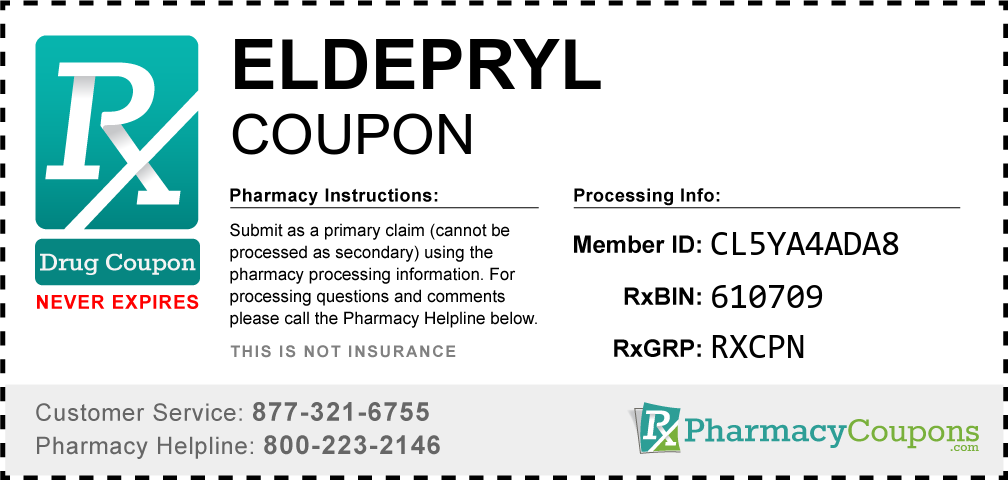 Eldepryl Prescription Drug Coupon with Pharmacy Savings