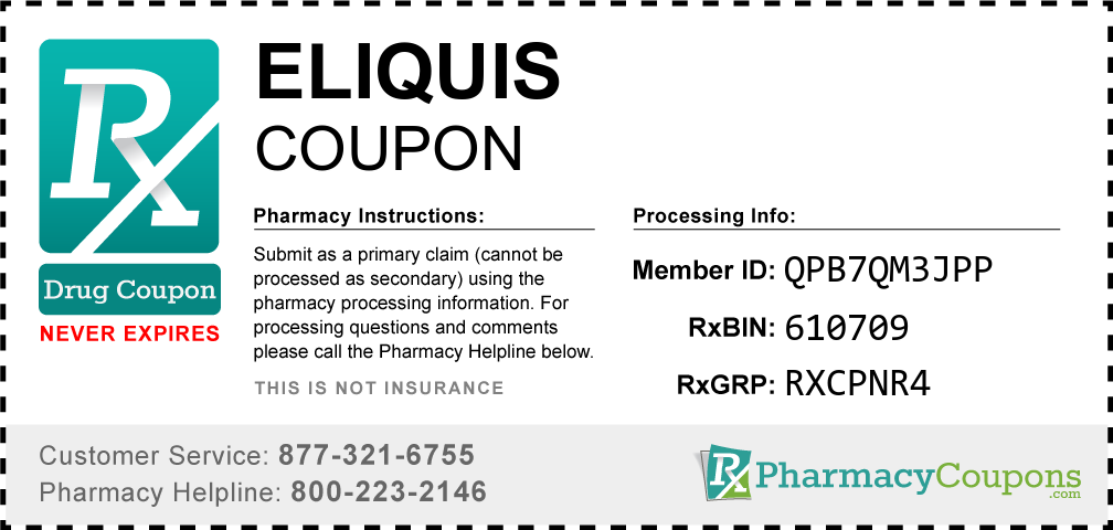 Eliquis Prescription Drug Coupon with Pharmacy Savings