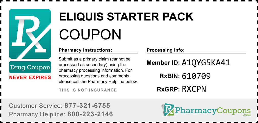 Eliquis starter pack Prescription Drug Coupon with Pharmacy Savings