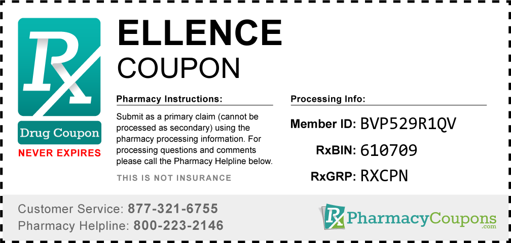 Ellence Prescription Drug Coupon with Pharmacy Savings