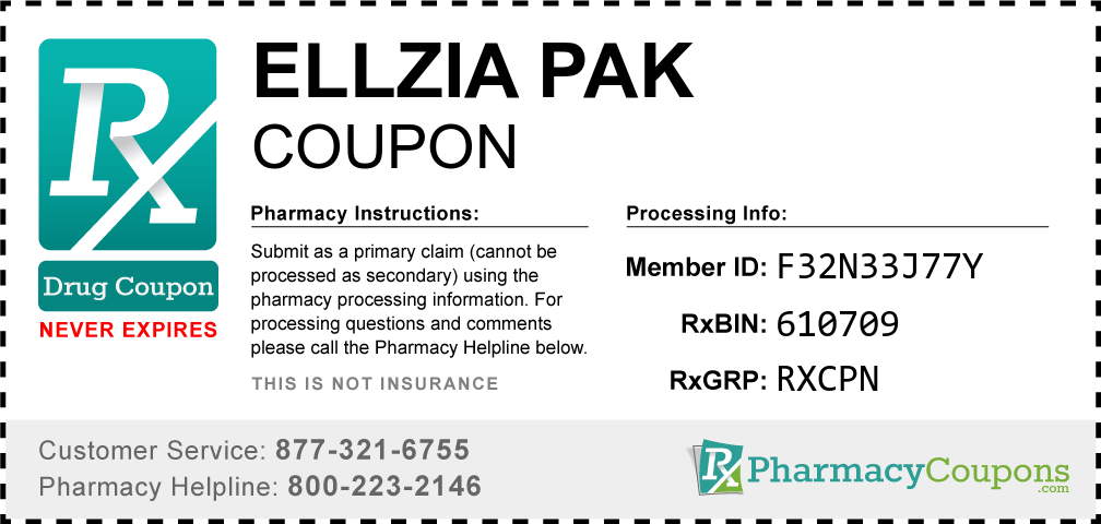 Ellzia pak Prescription Drug Coupon with Pharmacy Savings