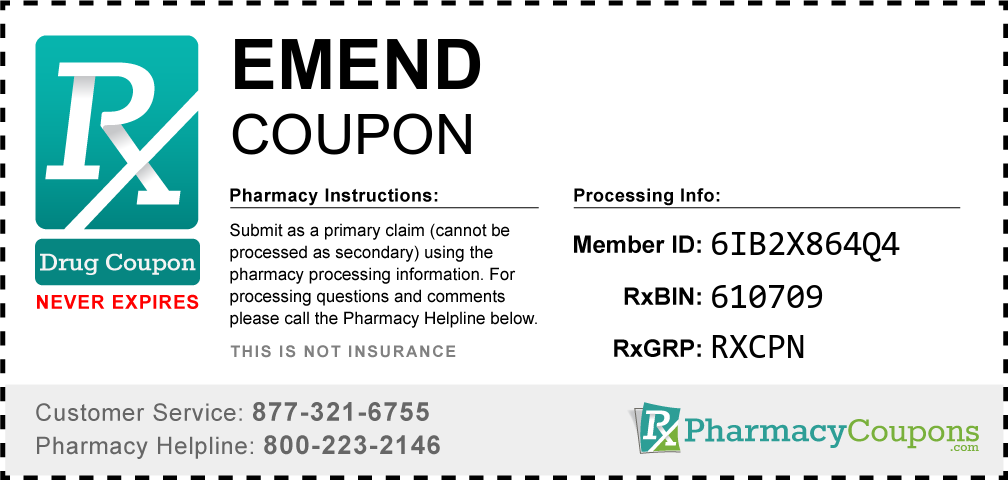 Emend Prescription Drug Coupon with Pharmacy Savings