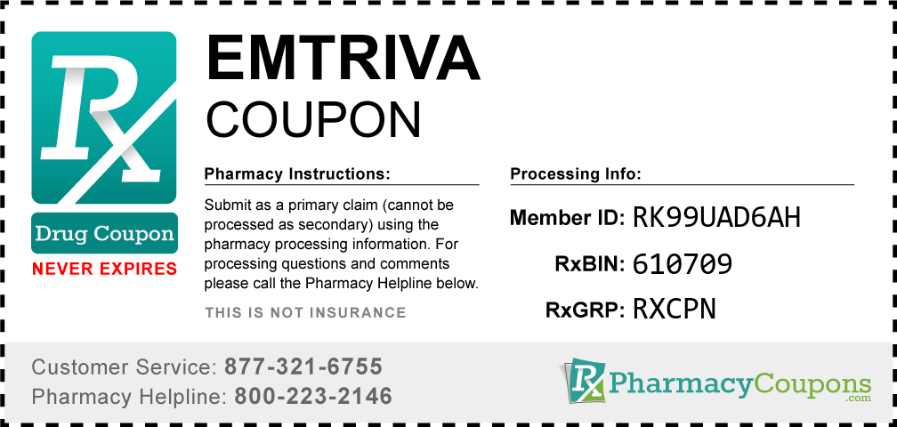 Emtriva Prescription Drug Coupon with Pharmacy Savings