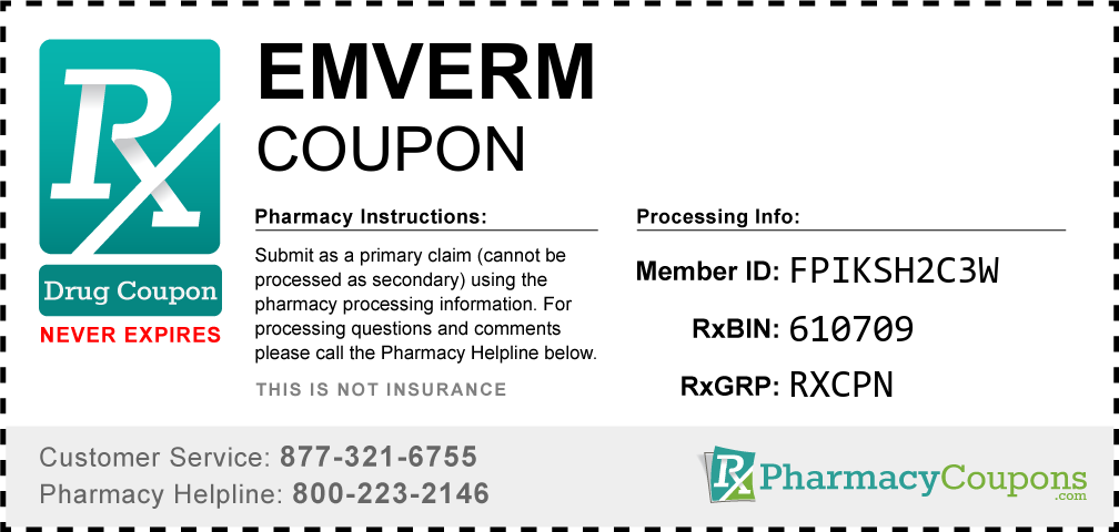 Emverm Prescription Drug Coupon with Pharmacy Savings