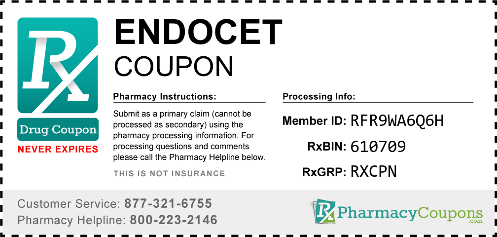Endocet Prescription Drug Coupon with Pharmacy Savings