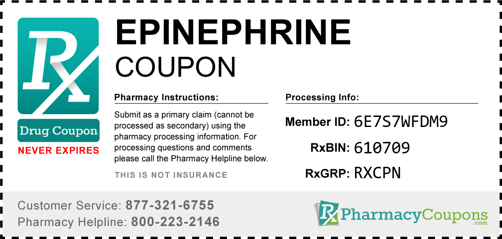 Epinephrine Prescription Drug Coupon with Pharmacy Savings