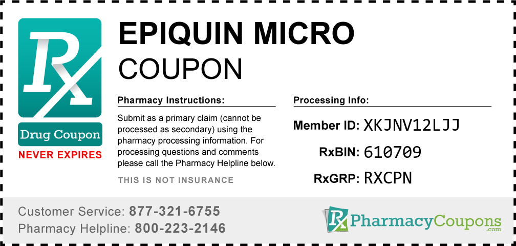 Epiquin micro Prescription Drug Coupon with Pharmacy Savings