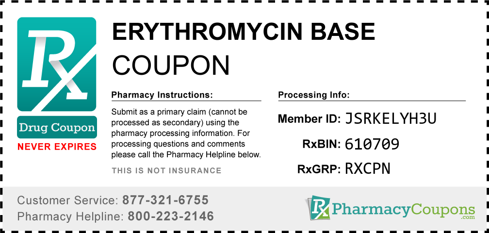 Erythromycin base Prescription Drug Coupon with Pharmacy Savings