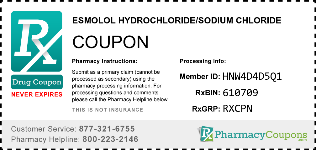 Esmolol hydrochloride/sodium chloride Prescription Drug Coupon with Pharmacy Savings