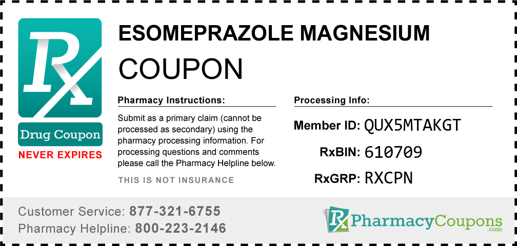 Esomeprazole magnesium Prescription Drug Coupon with Pharmacy Savings