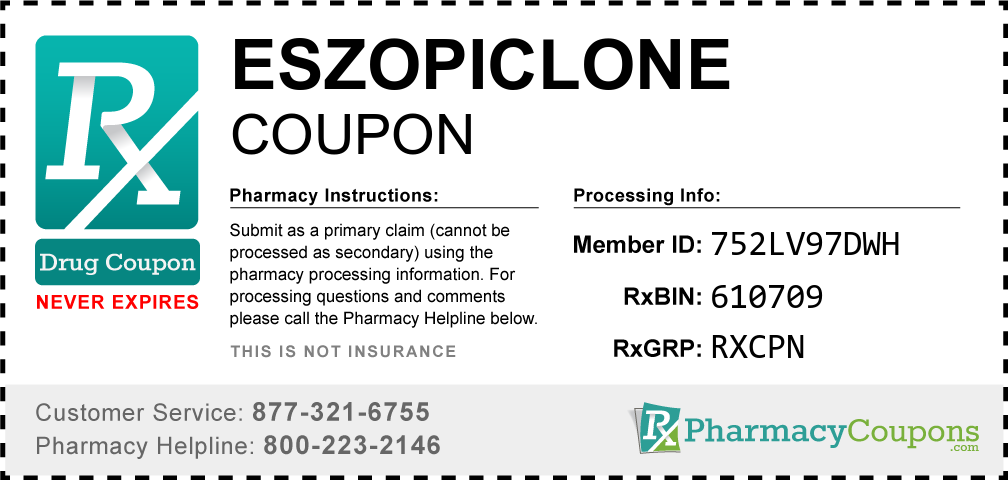 Eszopiclone Prescription Drug Coupon with Pharmacy Savings
