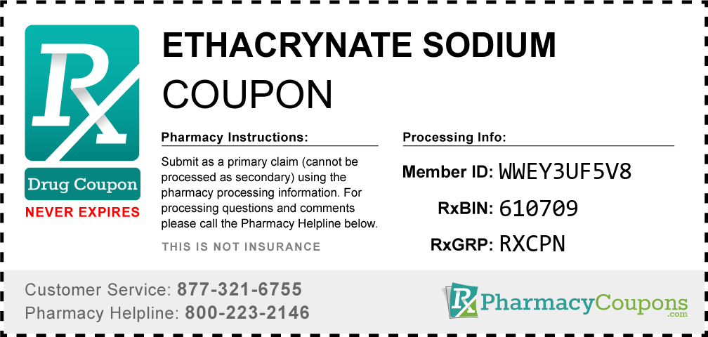 Ethacrynate sodium Prescription Drug Coupon with Pharmacy Savings