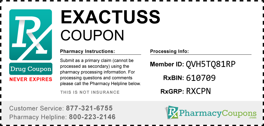 Exactuss Prescription Drug Coupon with Pharmacy Savings