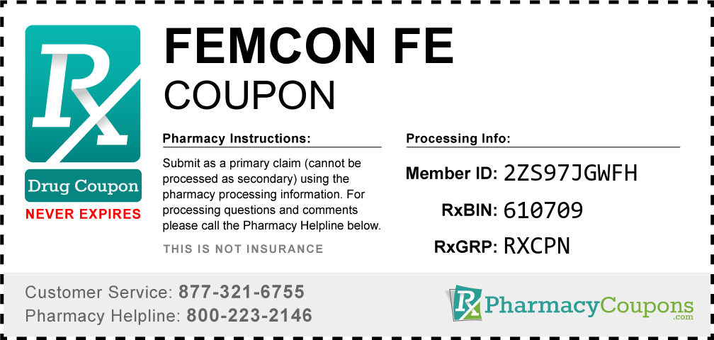 Femcon fe Prescription Drug Coupon with Pharmacy Savings