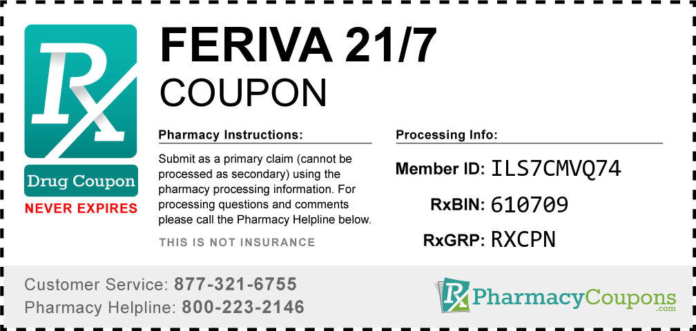 Feriva 21/7 Prescription Drug Coupon with Pharmacy Savings
