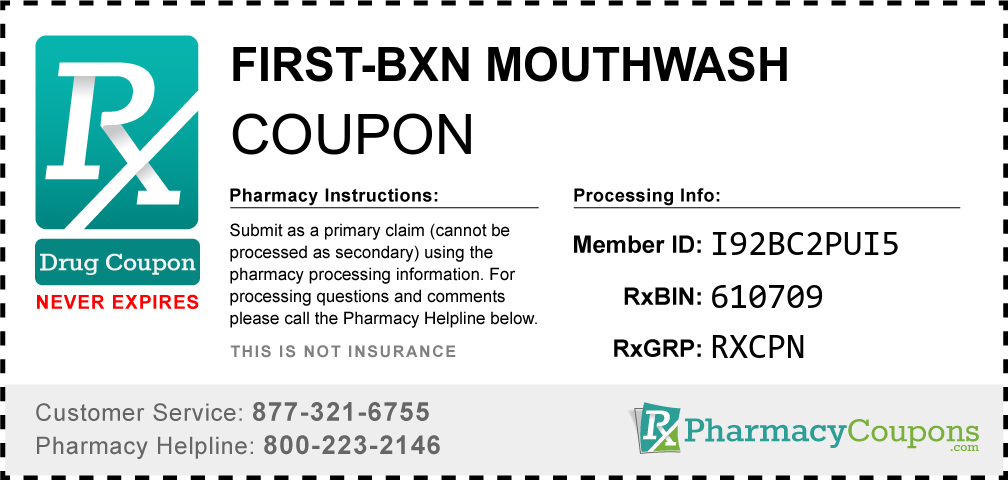 First-bxn mouthwash Prescription Drug Coupon with Pharmacy Savings