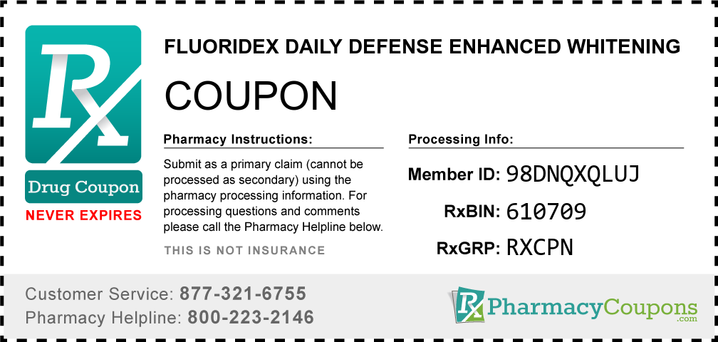 Fluoridex daily defense enhanced whitening Prescription Drug Coupon with Pharmacy Savings