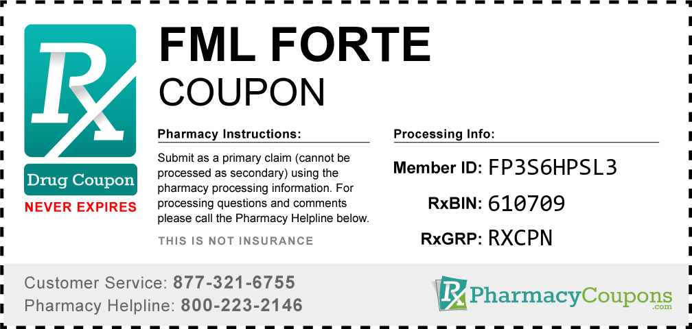 Fml forte Prescription Drug Coupon with Pharmacy Savings