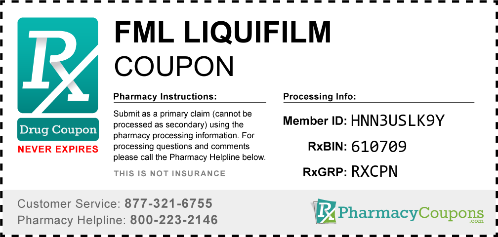 Fml liquifilm Prescription Drug Coupon with Pharmacy Savings