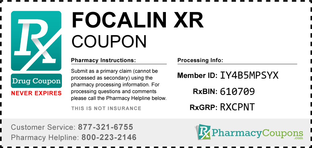 Focalin xr Prescription Drug Coupon with Pharmacy Savings