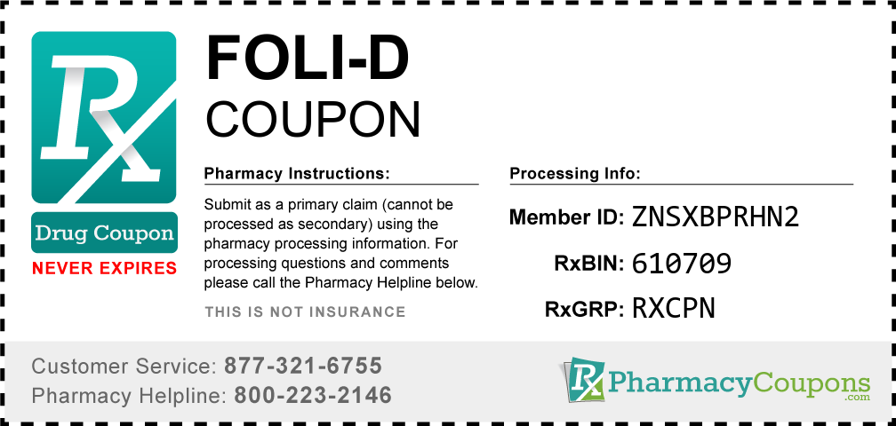 Foli-d Prescription Drug Coupon with Pharmacy Savings