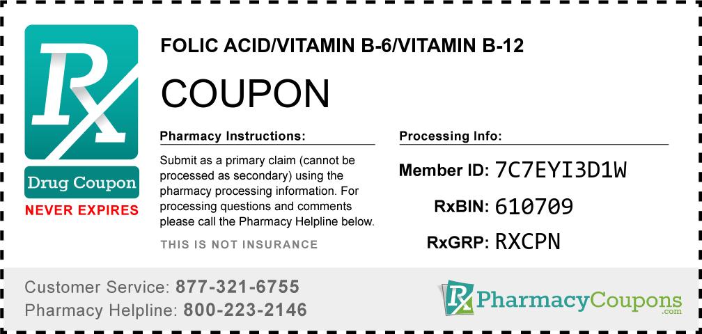 Folic acid/vitamin b-6/vitamin b-12 Prescription Drug Coupon with Pharmacy Savings
