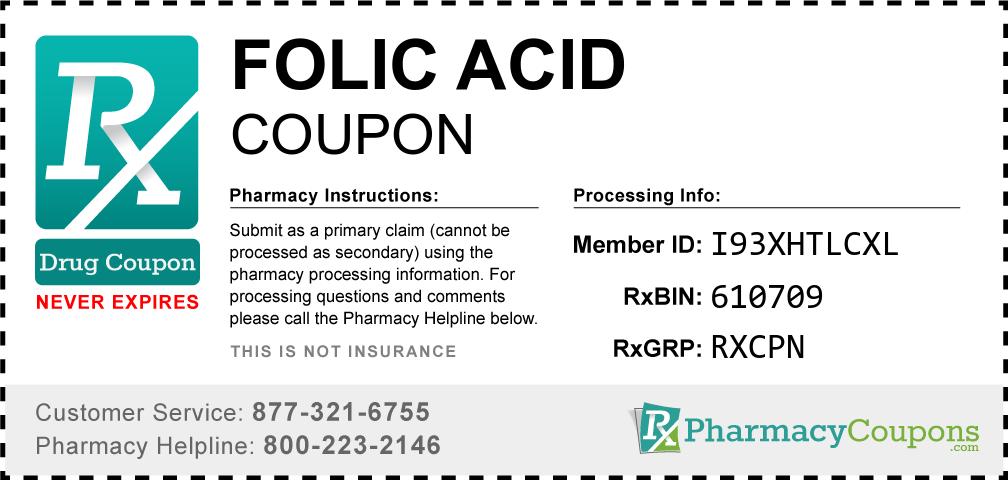 Folic acid Prescription Drug Coupon with Pharmacy Savings