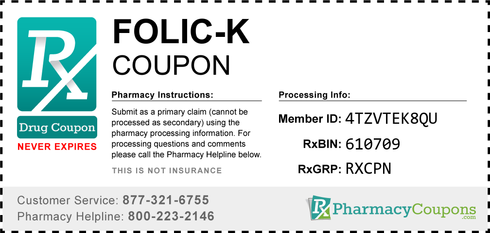 Folic-k Prescription Drug Coupon with Pharmacy Savings