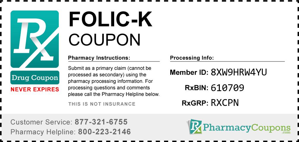 Folic-k Prescription Drug Coupon with Pharmacy Savings