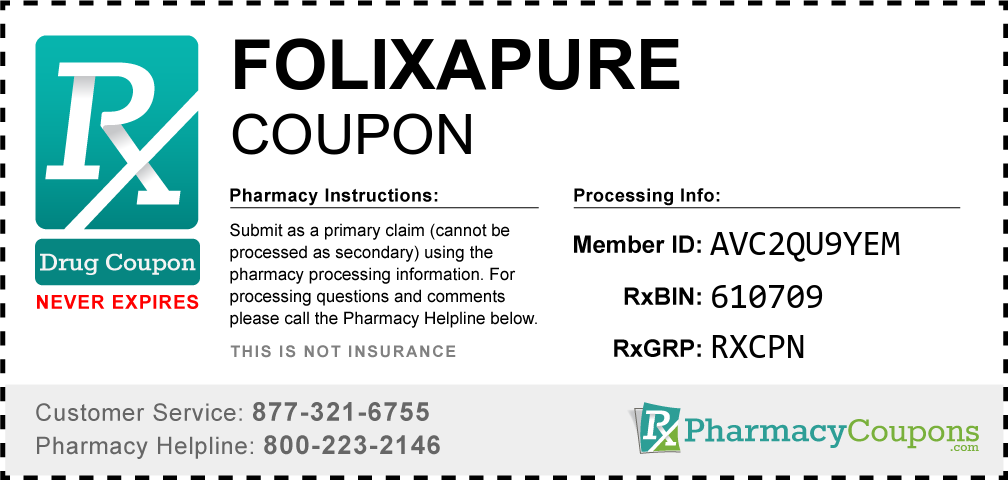 Folixapure Prescription Drug Coupon with Pharmacy Savings